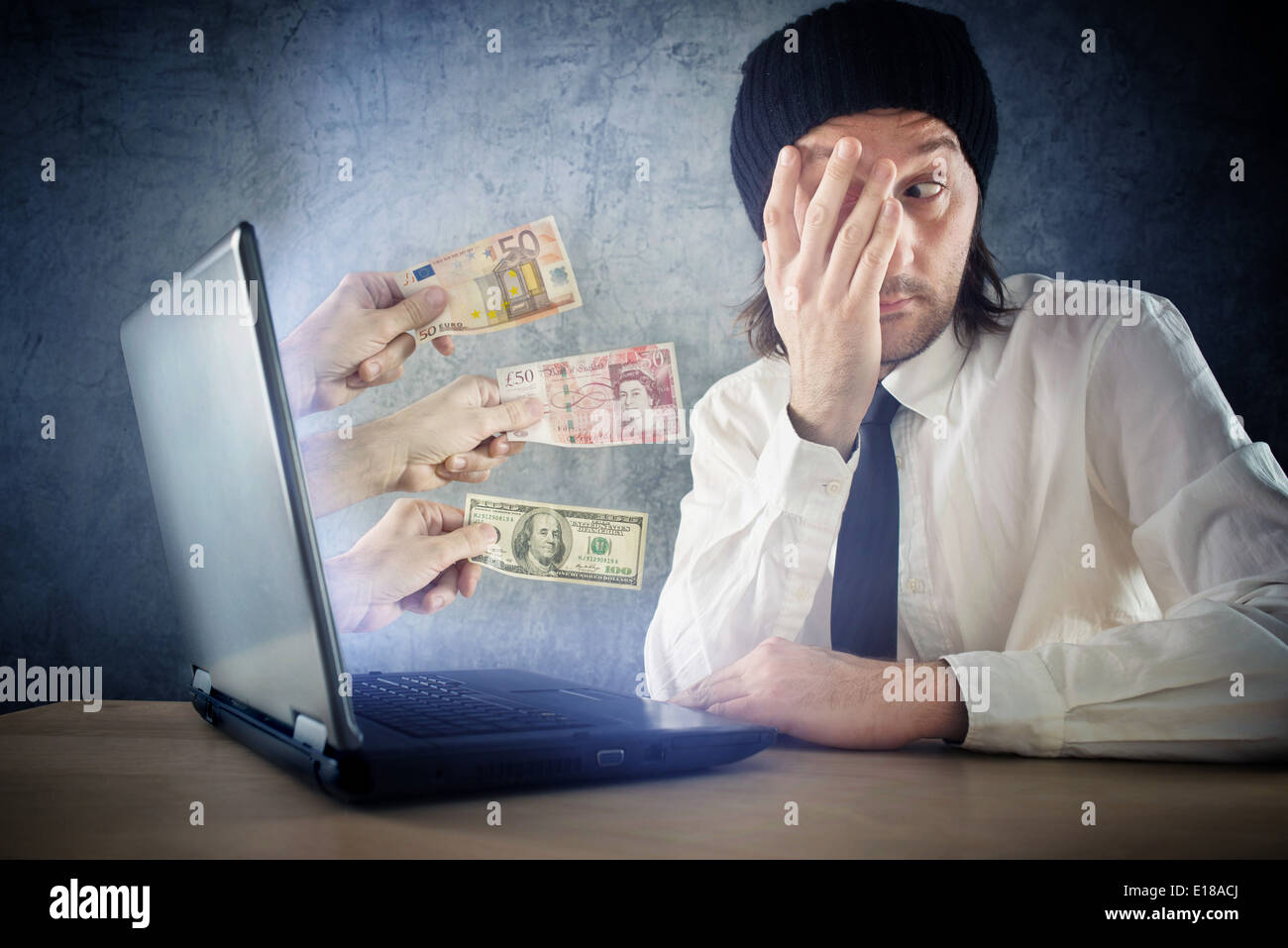 On line money funds, surprised businessman receiving cash over internet. Earning money on network. - Stock Image