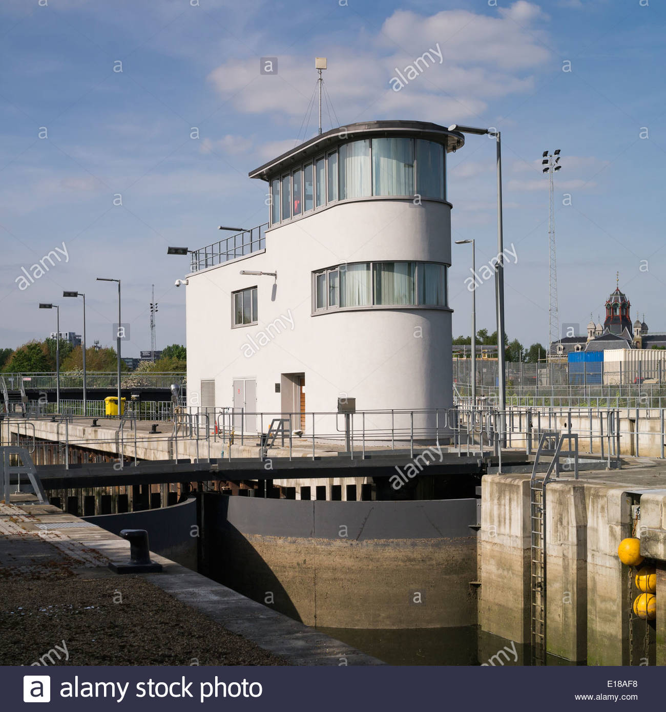 Three Mills Lock and control tower: London. - Stock Image