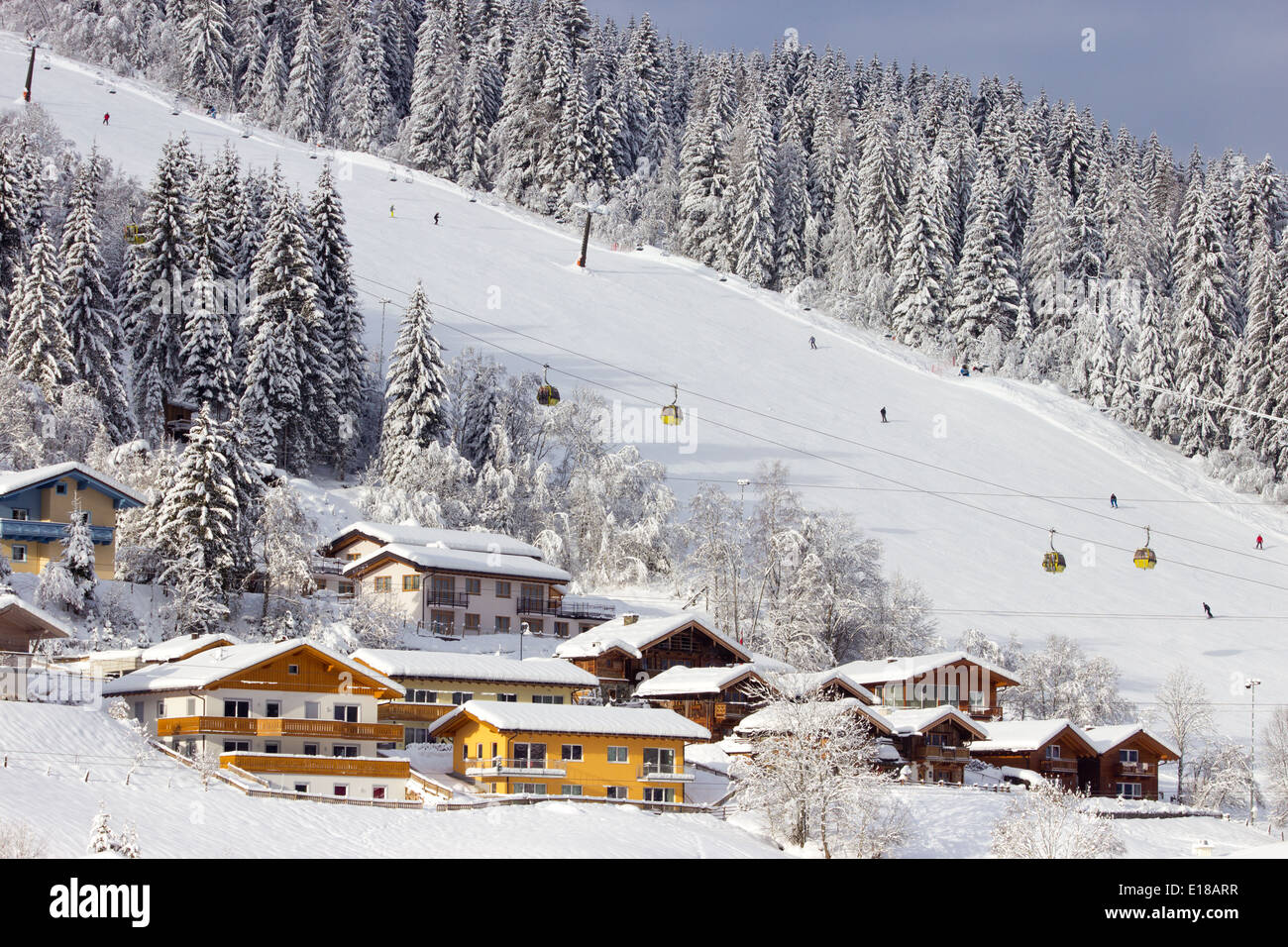 Ski piste in Flachau, Austria Stock Photo