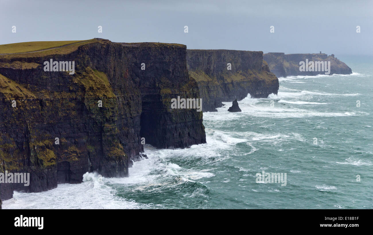 Cliffs of Moher during a storm, Co. Clare, Ireland - Stock Image