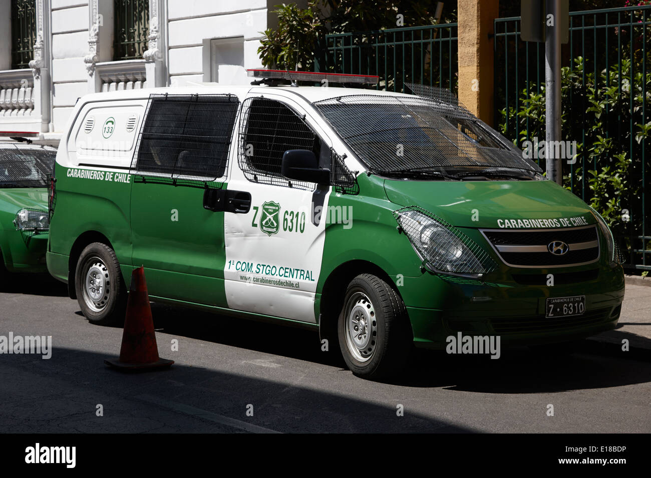 carabineros de chile national police radio patrol riot van vehicle in downtown Santiago Chile - Stock Image