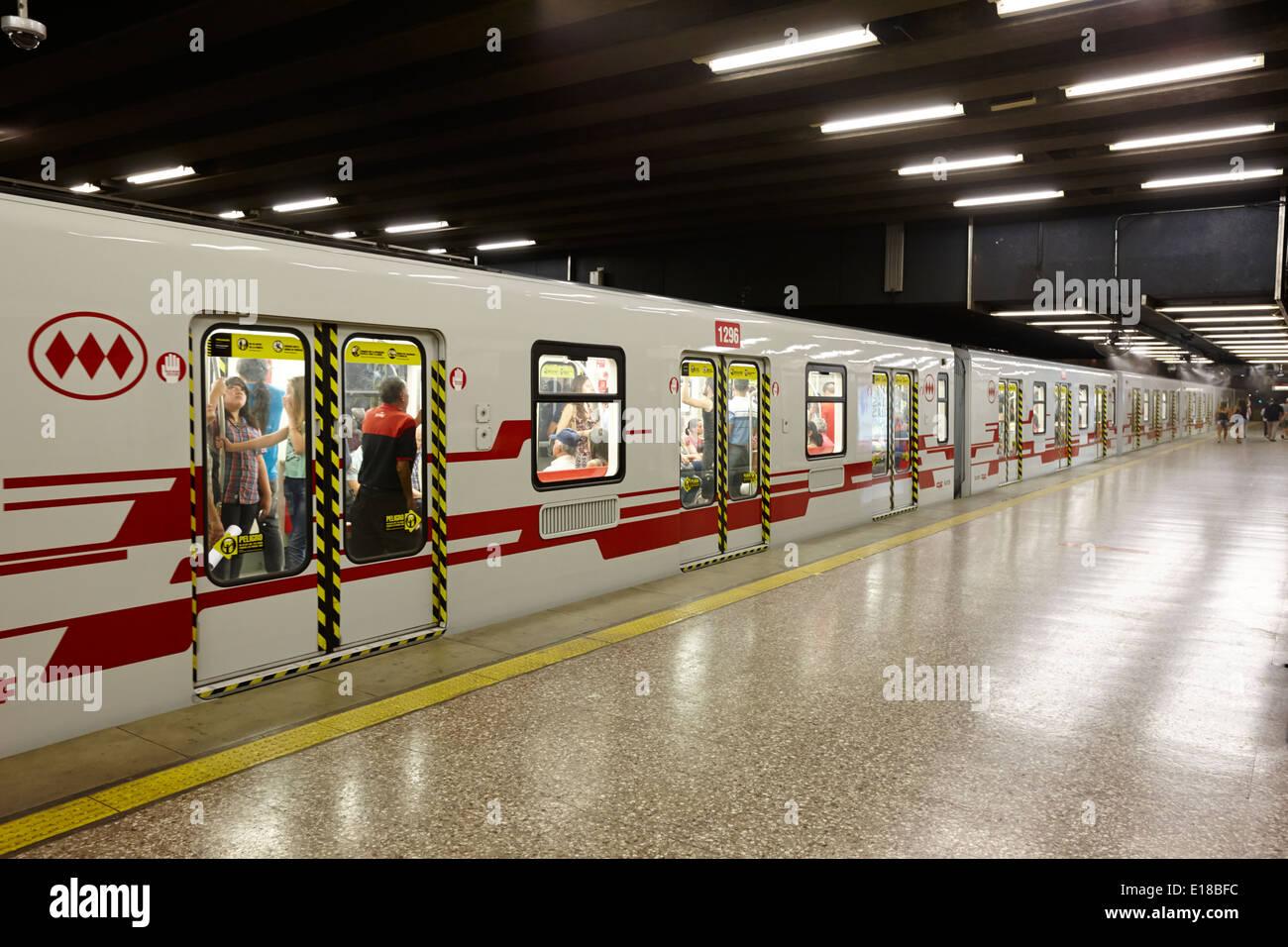 universidad de chile metro station downtown Santiago Chile - Stock Image