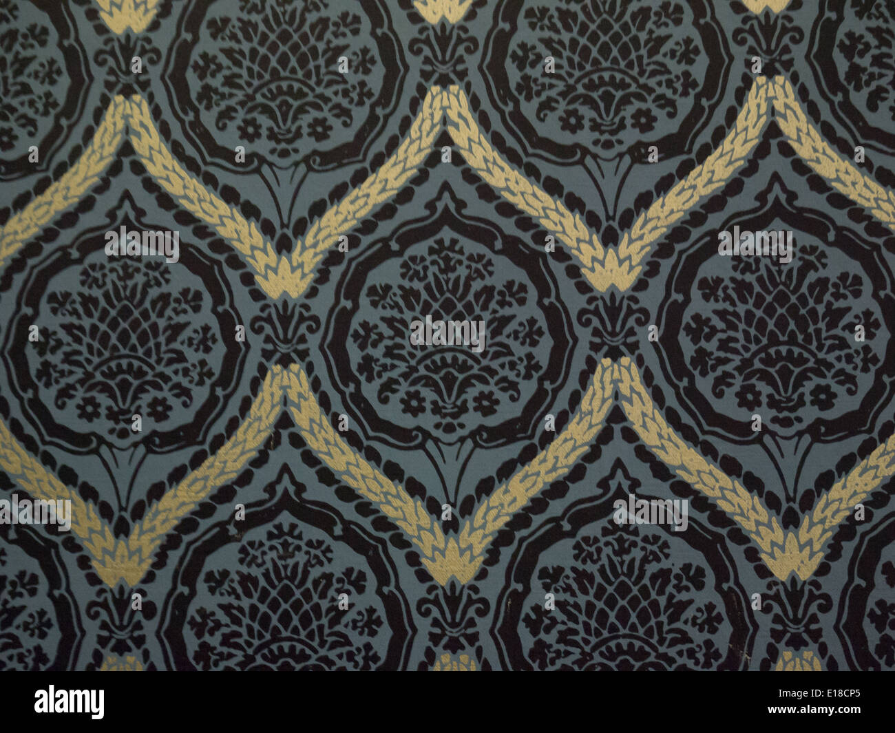 vintage wallpaper symmetric pattern blue white black - Stock Image