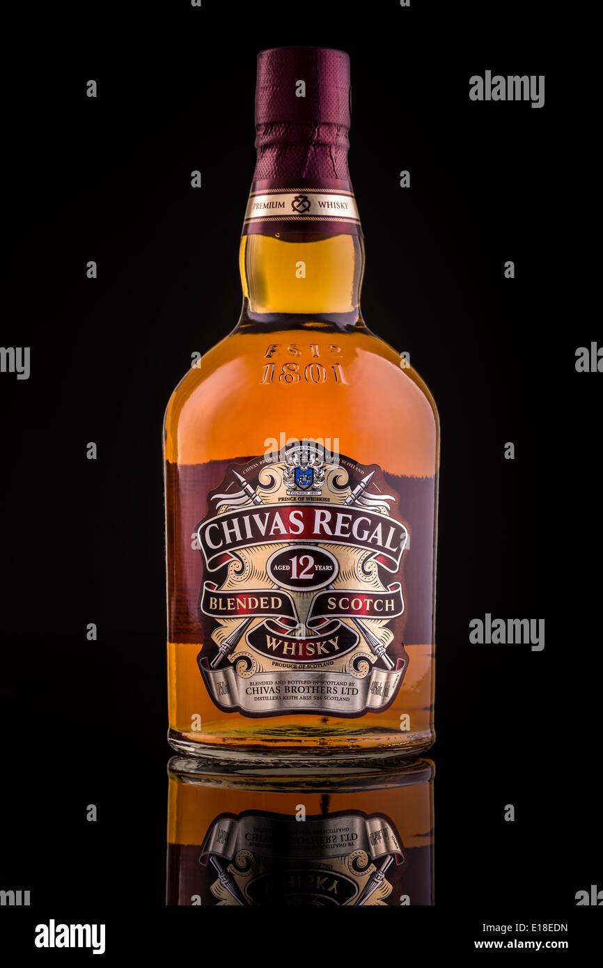 Chivas Regal whisky bottle. - Stock Image