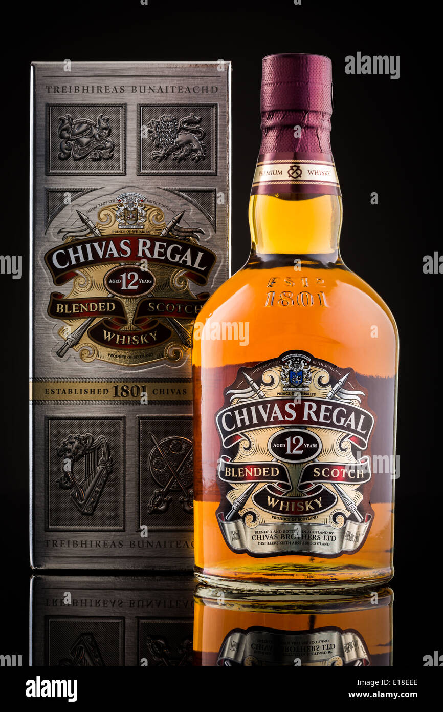 Chivas Regal box and whisky bottle. - Stock Image