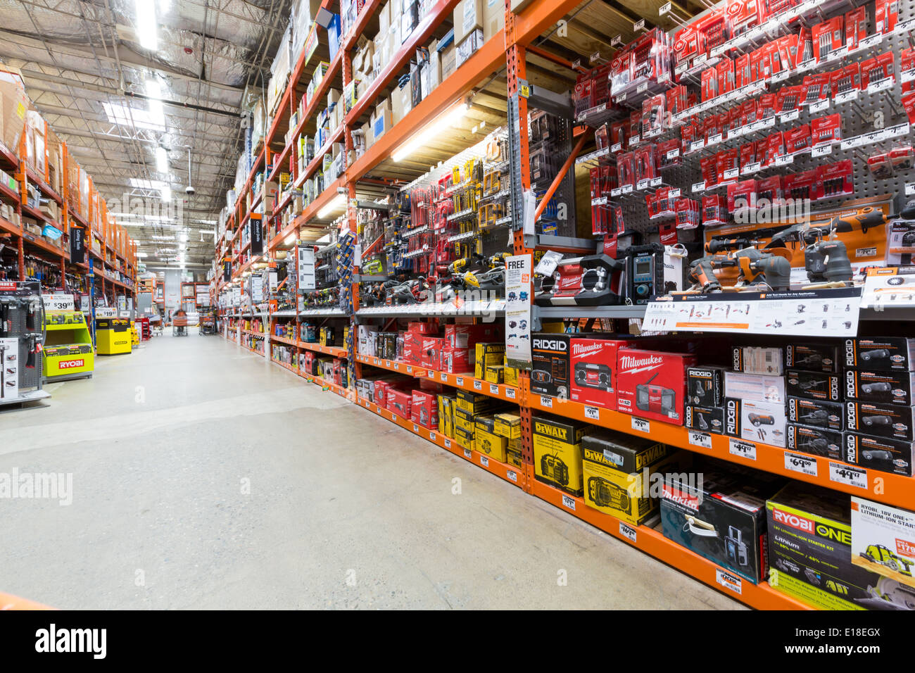 Shelves in an American home improvement store - Stock Image