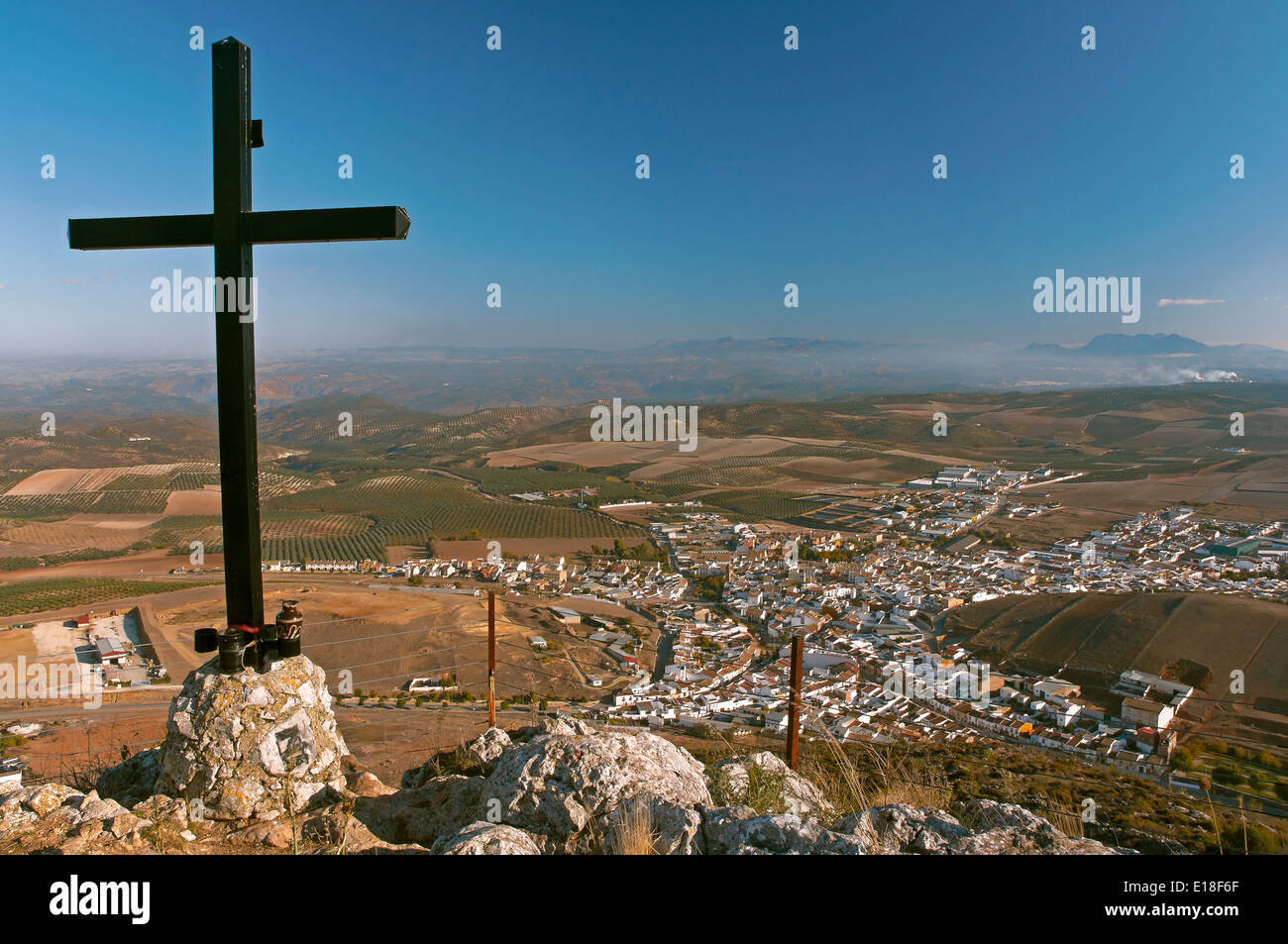 Panoramic view and cross, Alameda, Malaga-province, Region of Andalusia, Spain, Europe - Stock Image