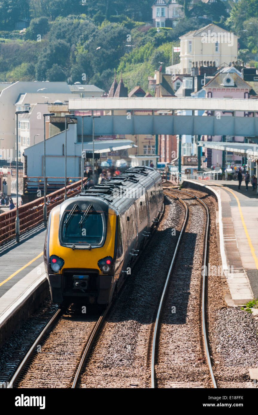 Crosscountry Voyager train stopped in the platform at Dawlish railway station - Stock Image