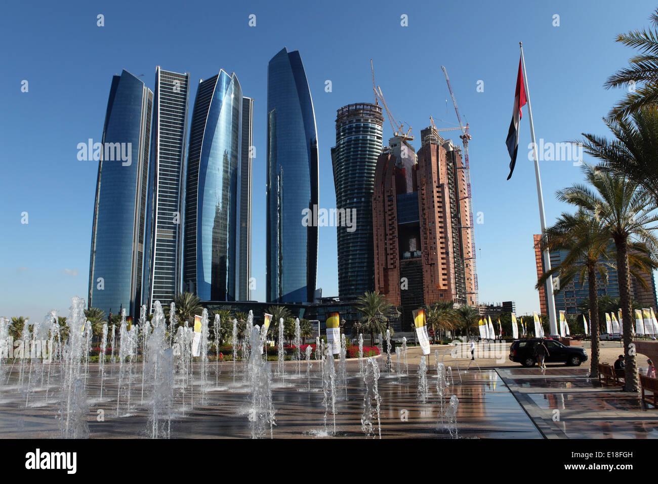 The Etihad Towers in Abu Dhabi. - Stock Image