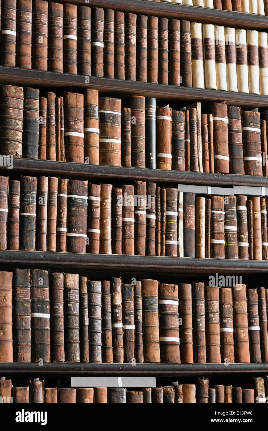 The Long Room in the Trinity College Library - Stock Image