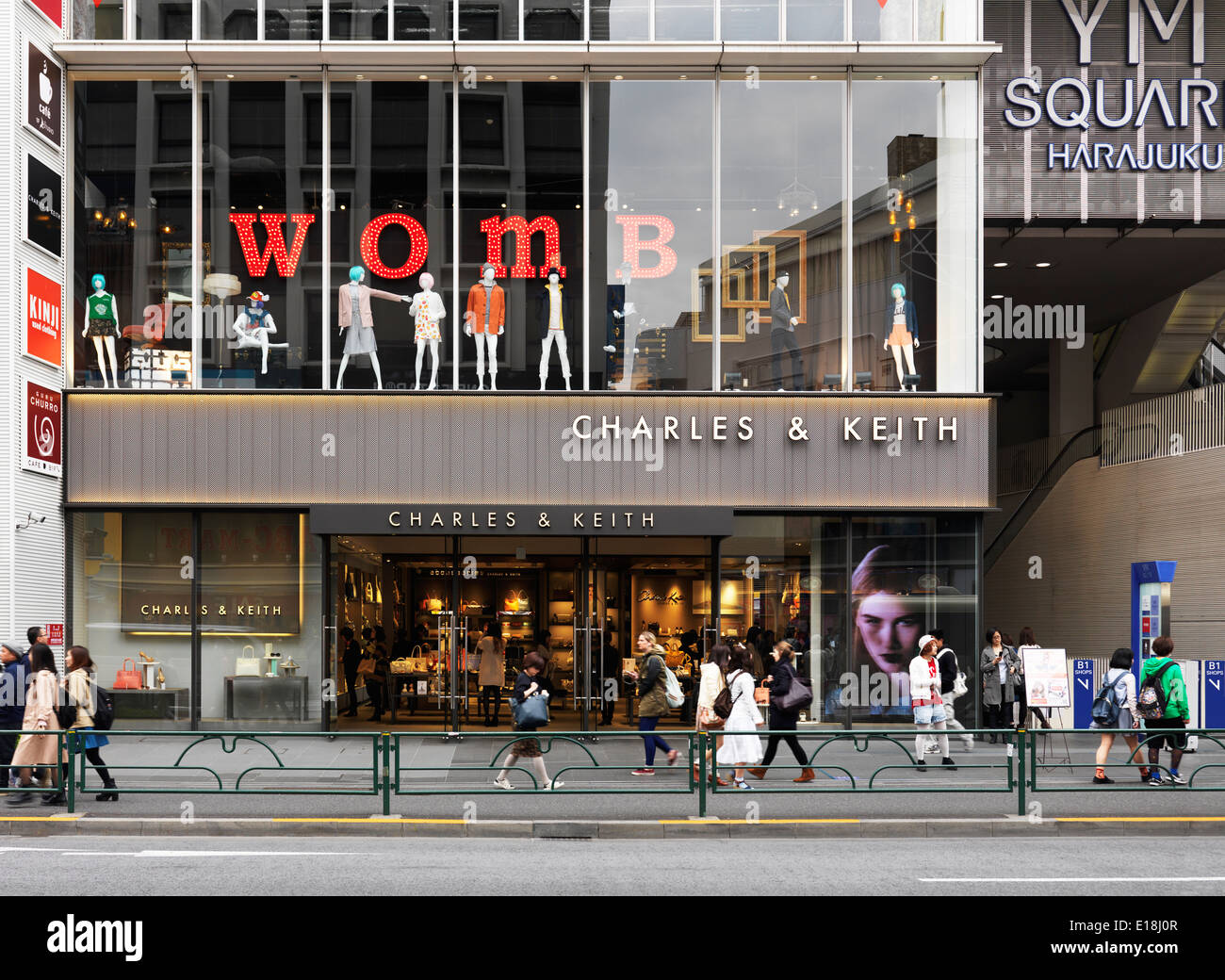 Charles and Keith and WOMB fashion clothing stores in YM Square, Harajuku, Tokyo, Japan. - Stock Image