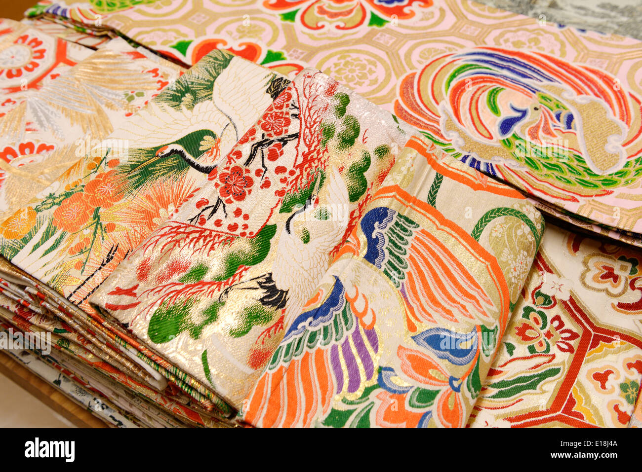 Kimono belts obi with colorful designs - Stock Image