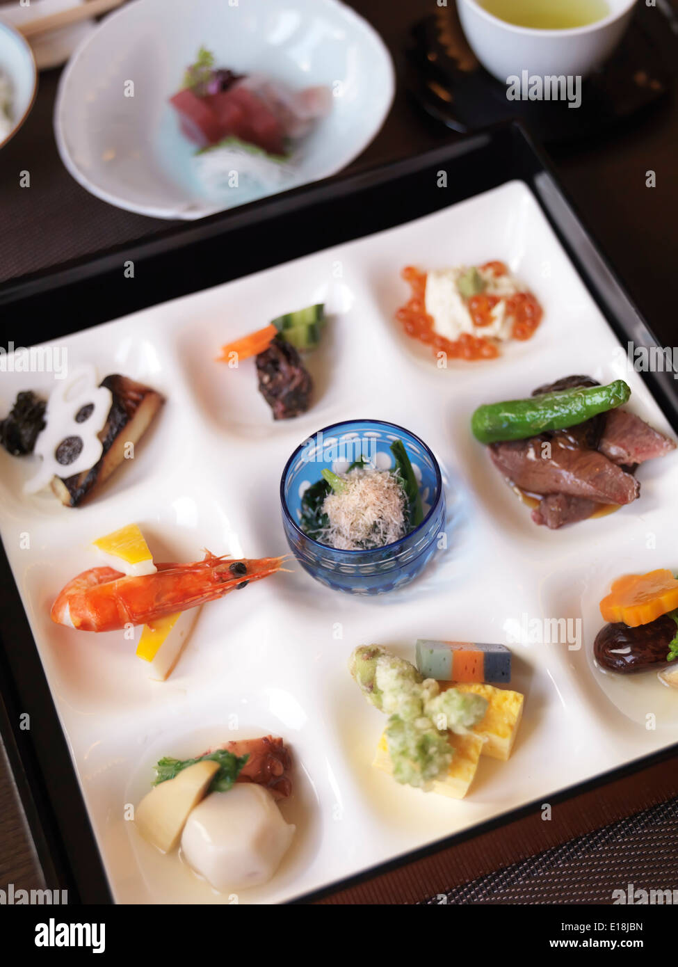 Closeup of a meal served at a Japanese high-end sushi restaurant. Ginza, Tokyo, Japan. - Stock Image