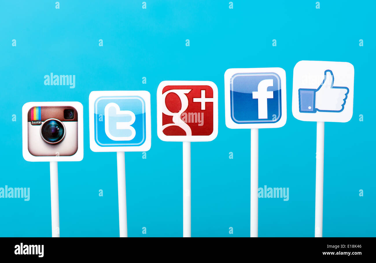 A collection of well-known social media brands printed on paper and placed on plastic signs - Stock Image