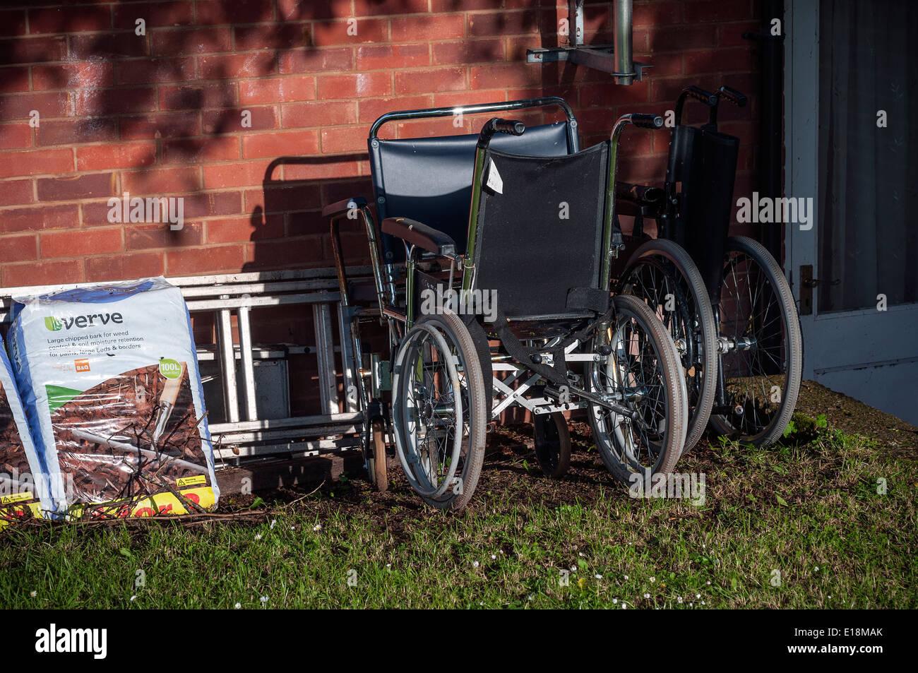 wheelchairs,care home.verve,wheelchair, chair, wheel, handicap, shadow, medical, sick, steel, invalid, circle, seat, Stock Photo