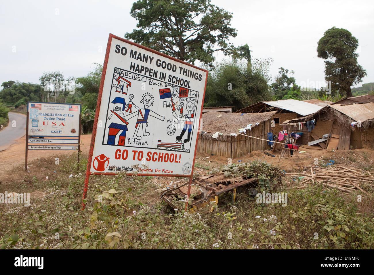 Public awareness signage in Kakata, Liberia, West Africa. - Stock Image