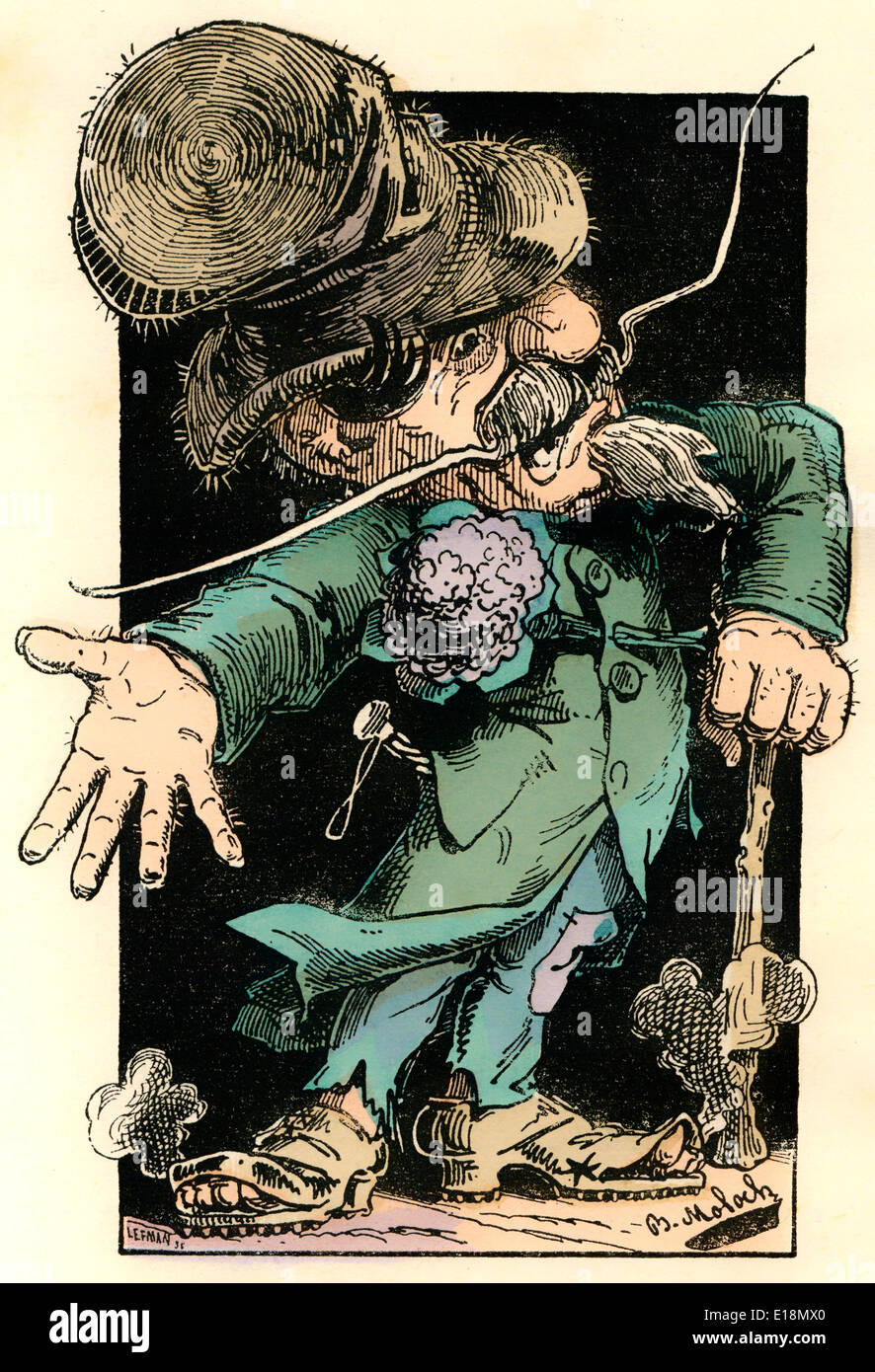 French newspaper Le Pays, personified as Debagoulard-Fracasse Le Pays, political caricature, 1882, by Alphonse Hector Stock Photo
