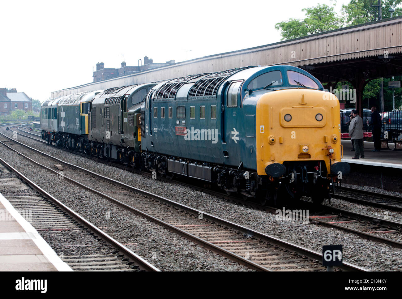 Leamington Spa, Warwickshire, England, UK. 27th May 2014. A trainspotter`s delight as a Deltic locomotive 'The King`s Own Yorkshire Light Infantry' heads a cavalcade of preserved diesel locomotives at Leamington Spa away from the Didcot Diesel Gala which was held at the weekend. Credit:  Colin Underhill/Alamy Live News - Stock Image