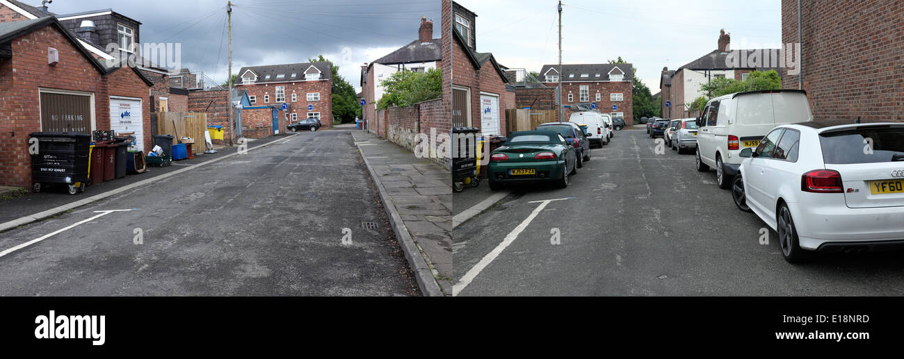 two views of the same steet two days apart, showing it empty and with parked vehicles - Stock Image