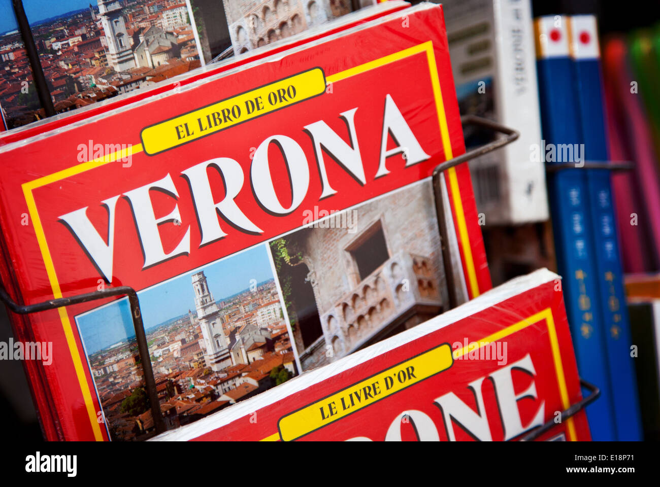 Verona travel guide at newsstand - Stock Image