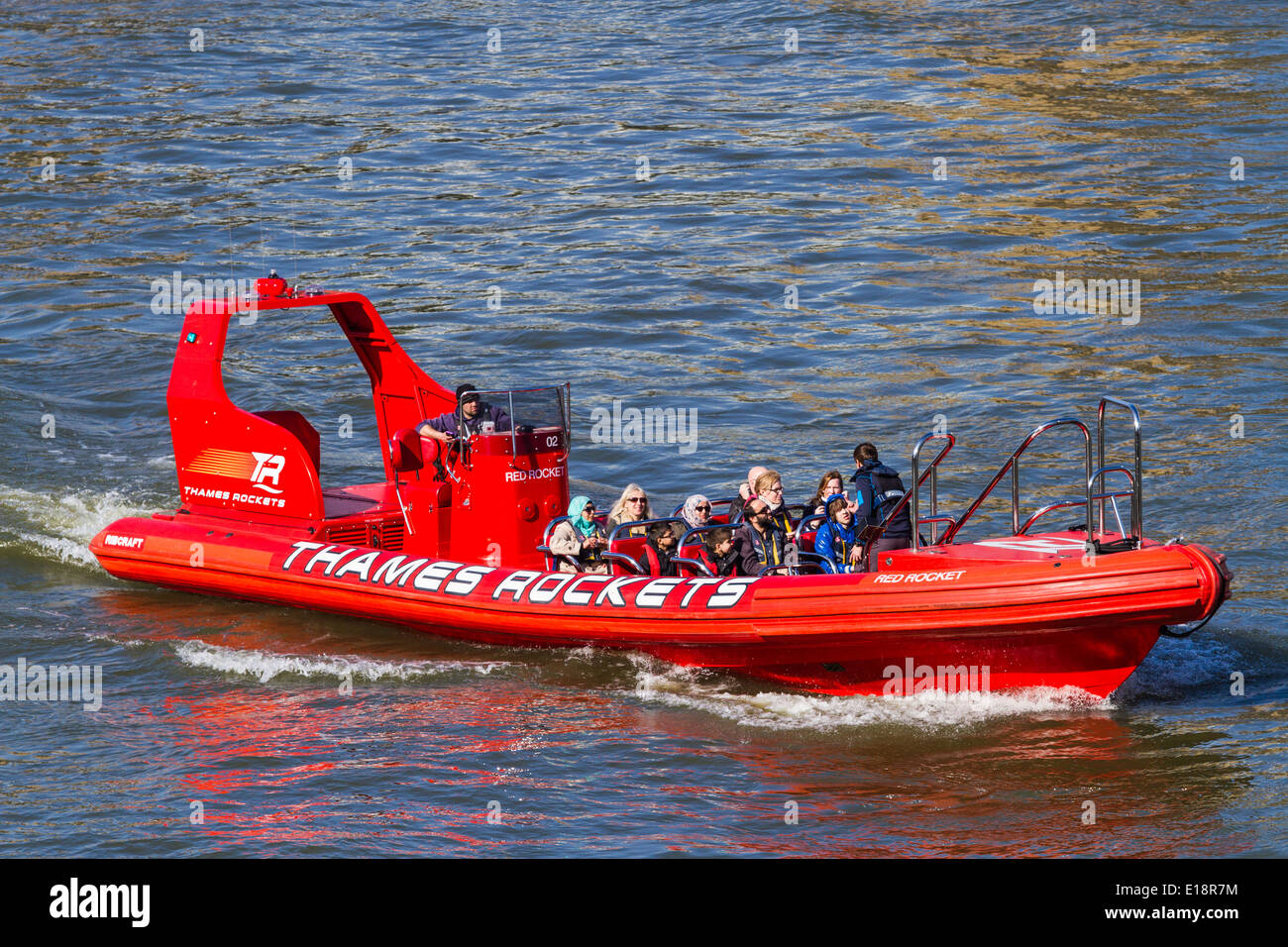 Thames Rockets on the river Thames - London - Stock Image