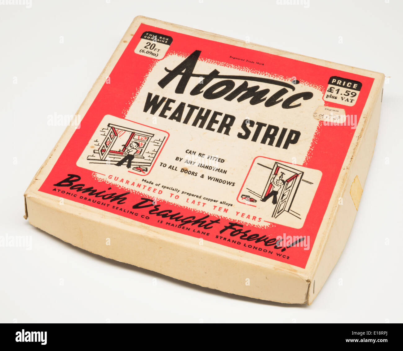 Atomic weather strip. Banish draught forever. 1960's product packaging. - Stock Image