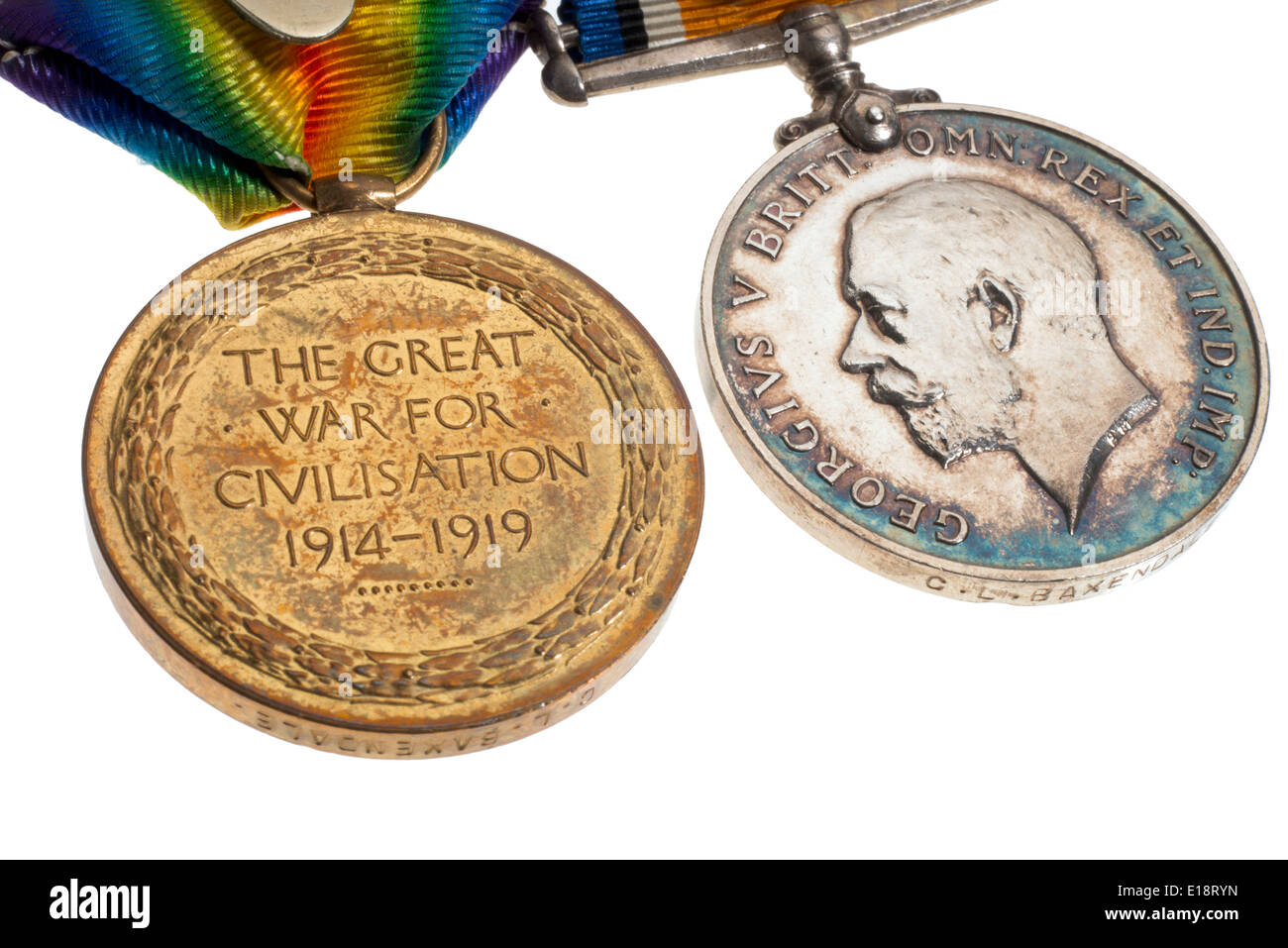 World War One medals. British War Medal and the Victory Medal. - Stock Image