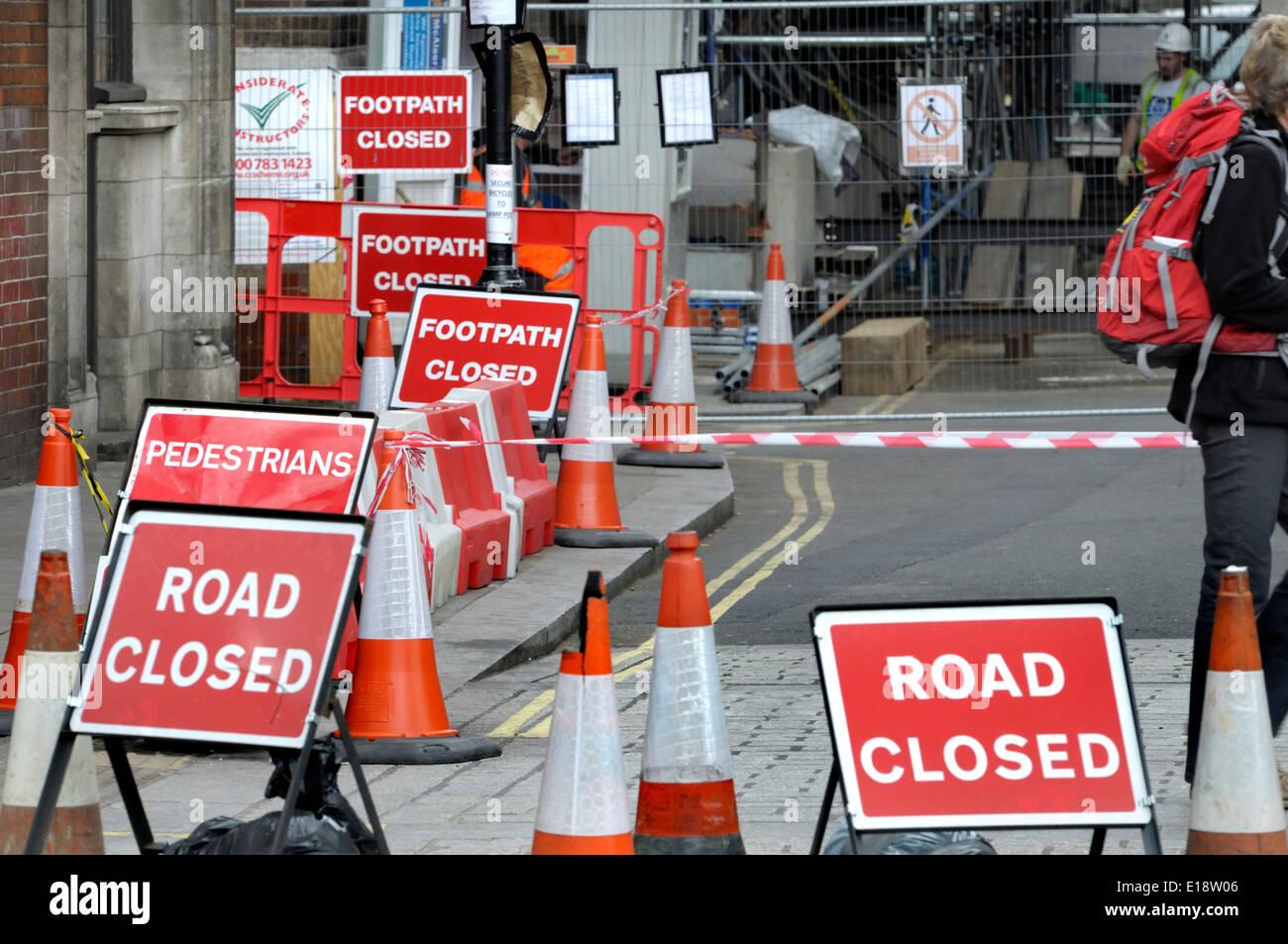 London, England, UK. Abundance of road signs - Road Closed / Footpath Closed - Stock Image