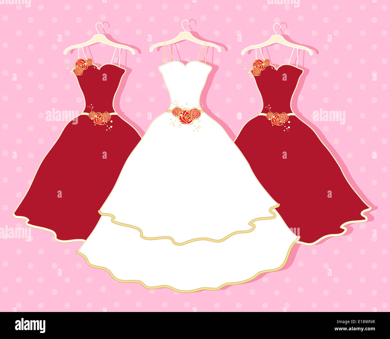 an illustration of a white wedding dress and two red bridesmaid ...