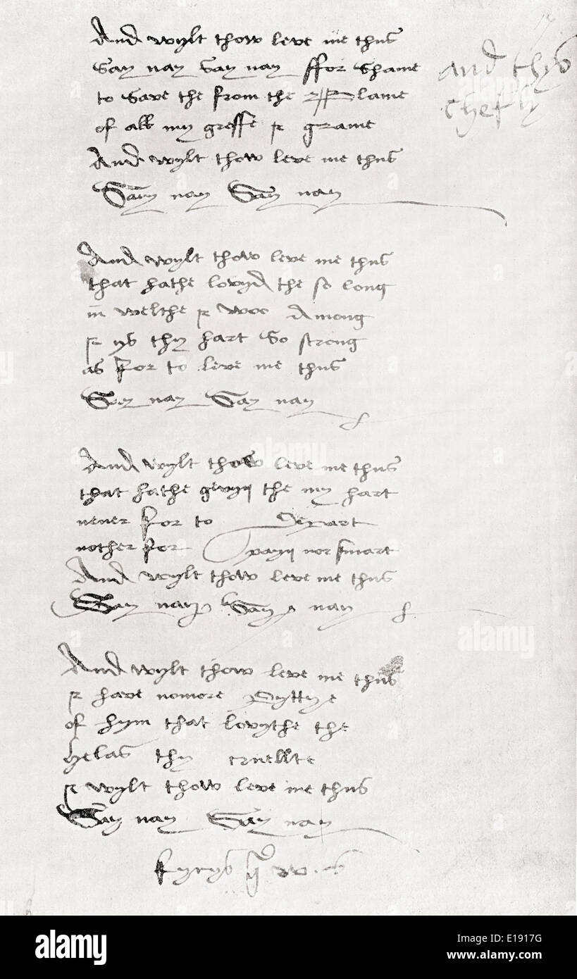Poem from the Devonshire Manuscript by Sir Thomas Wyatt, also spelled Wiat. After the original in the British museum. - Stock Image