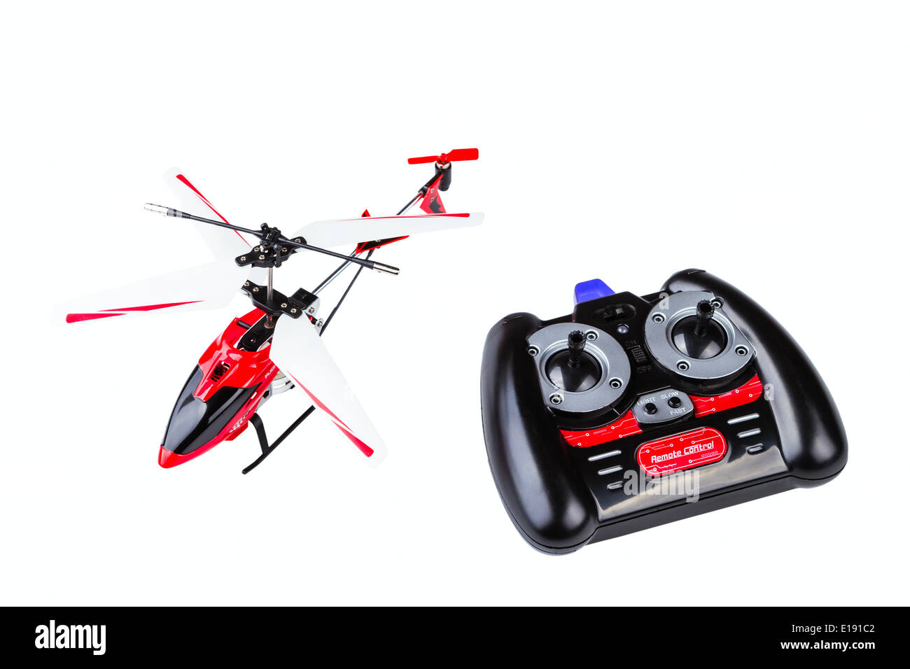 radio-controlled model of the helicopter with the control panel isolated on a white background - Stock Image