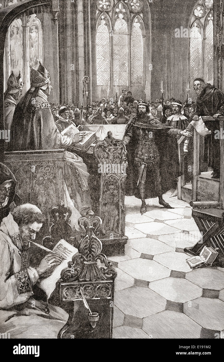 John Wycliffe on trial for heresy in St. Paul's Cathedral, 1376.