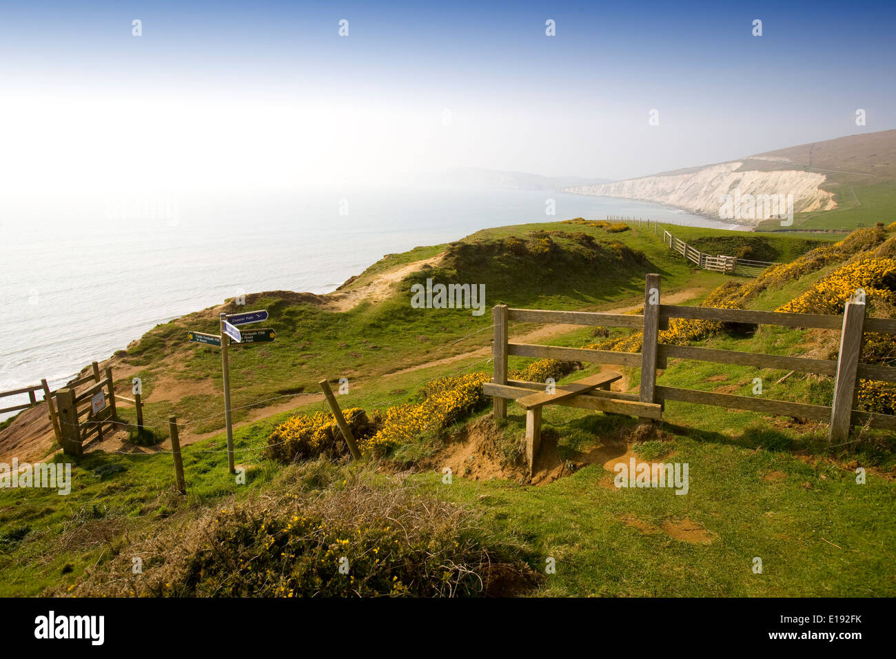 Coastall, Foot Path, Compton Bay, Freshwater, Styles, Signs, Isle of Wight, England, UK, - Stock Image