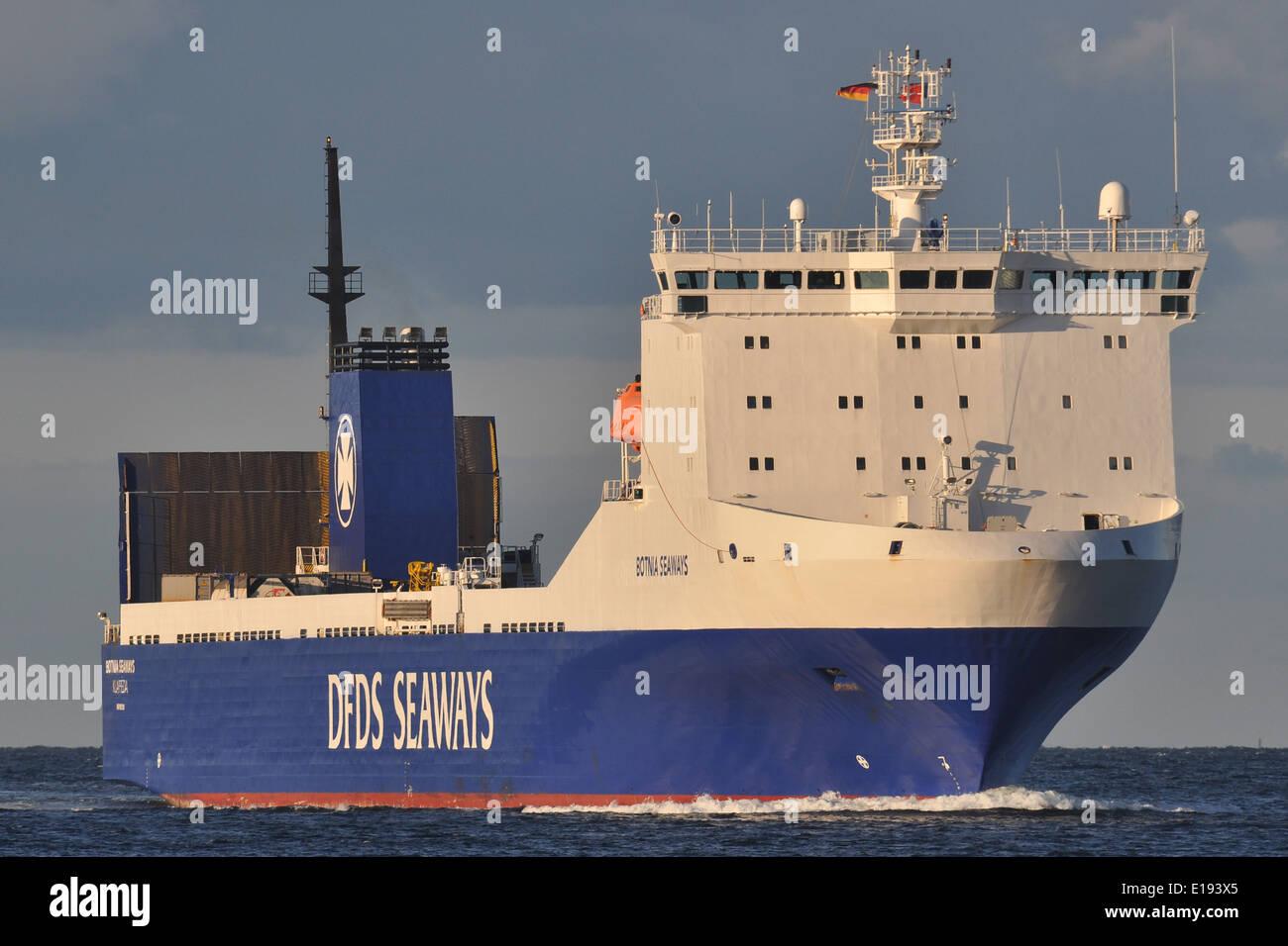Freight ferry Botnia Seaways inbound Kiel Fjord from russia. - Stock Image