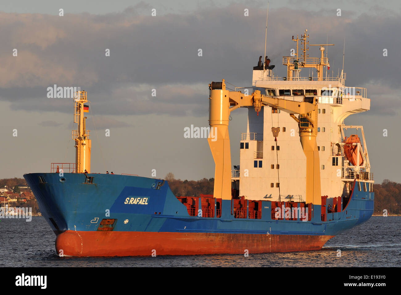 Cargovessel S. Rafael entering Holtenau-Locks (Kiel Canal) - Stock Image