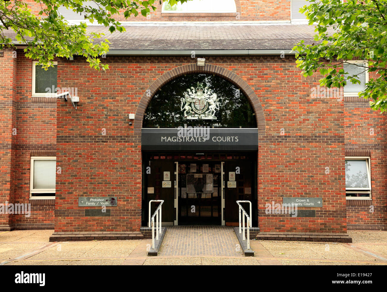 Norwich Magistrates Courts, entrance magistrate law court, Norfolk England UK English courts - Stock Image