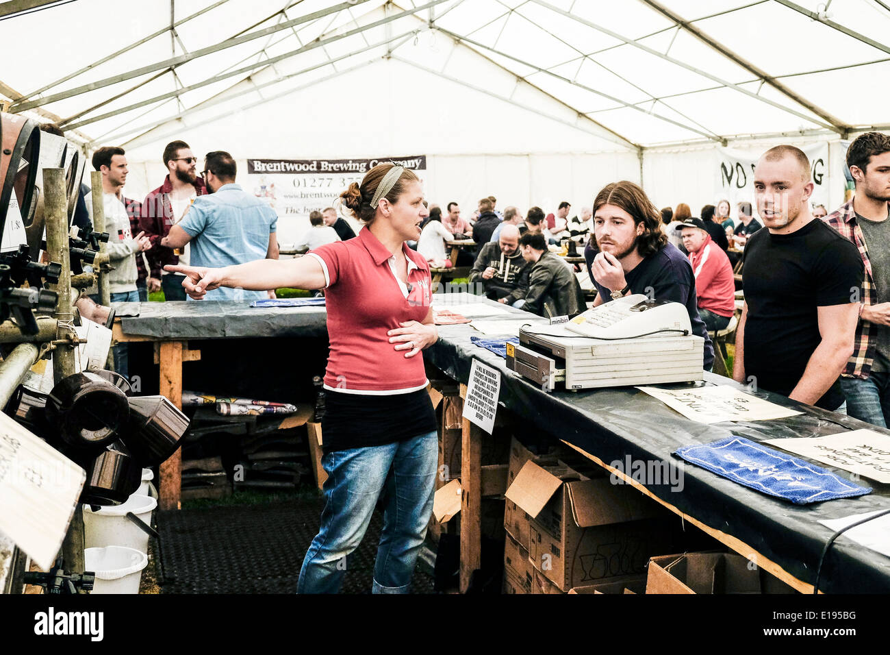 A member of staff advising a customer at the Hoop Beer Festival. - Stock Image