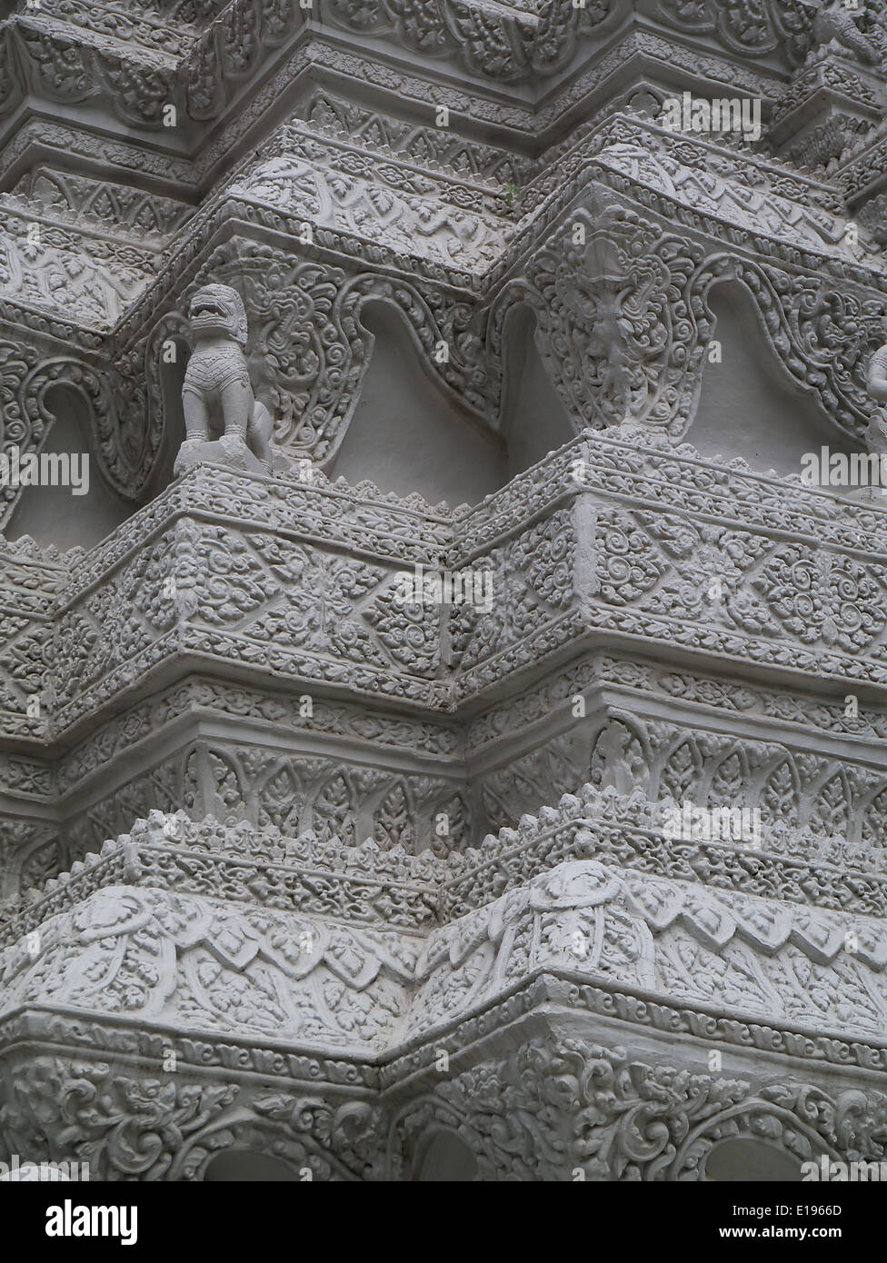 Detail of the architectural work on the temples at Wat Hanchey Cambodia - Stock Image