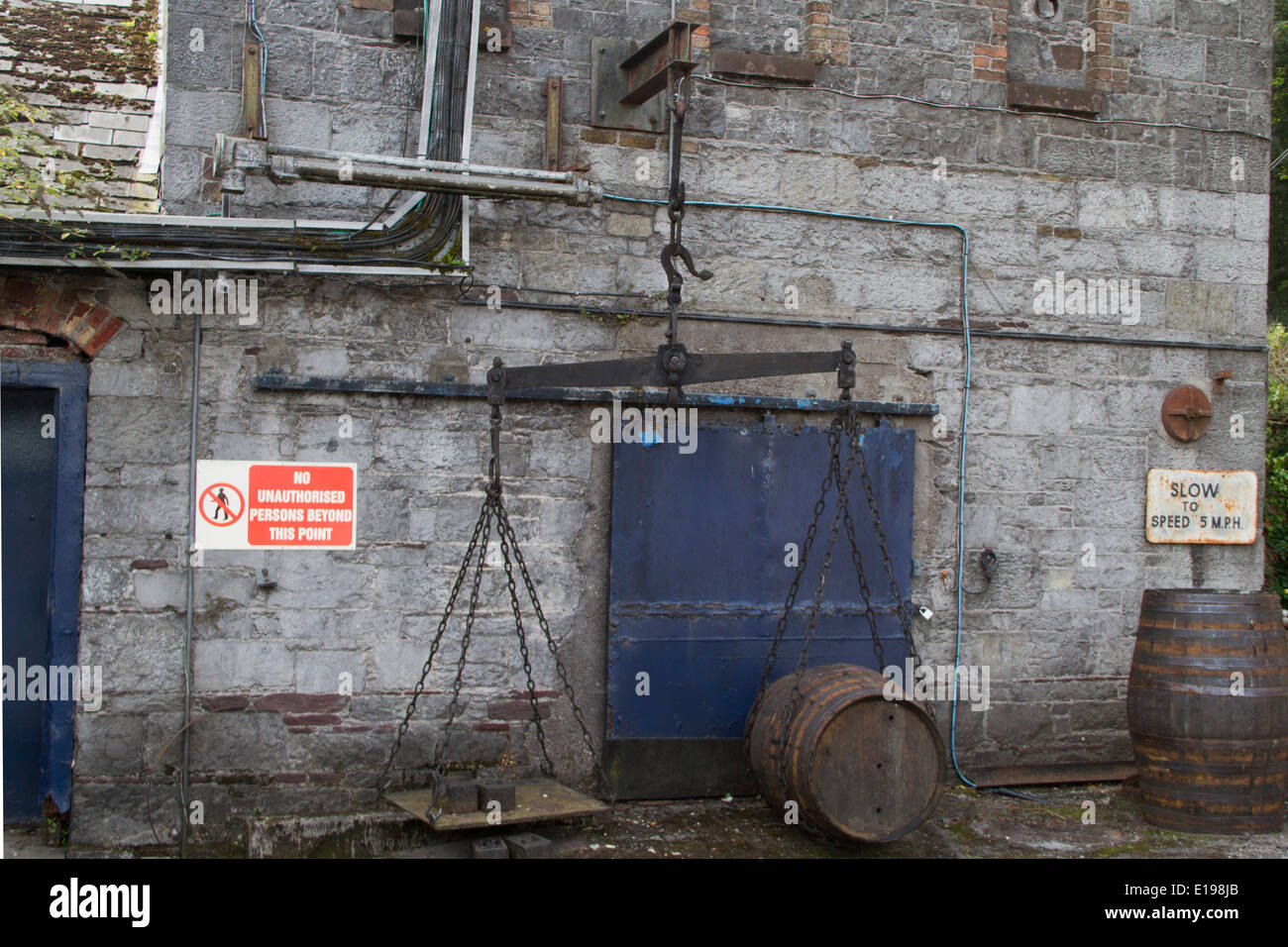Scale used to weigh wh isky barrels to determine excise tax Jameson Distillery,Ireland - Stock Image