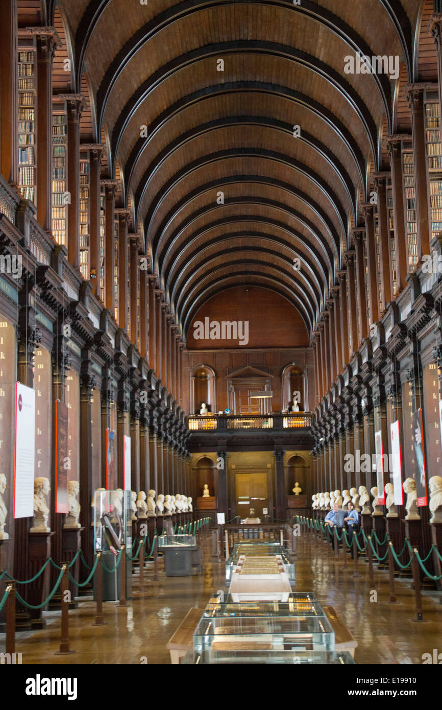 Long Room built in 1732 is 210 feet long and houses a collection of antiquarian books Trinity College Dublin,Ireland - Stock Image