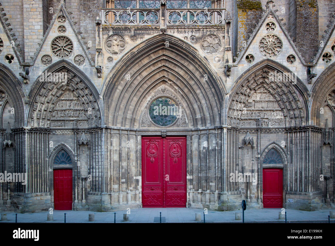 Front facade and doors to Notre Dame de Bayeux Church, Bayeux, Normandy France - Stock Image