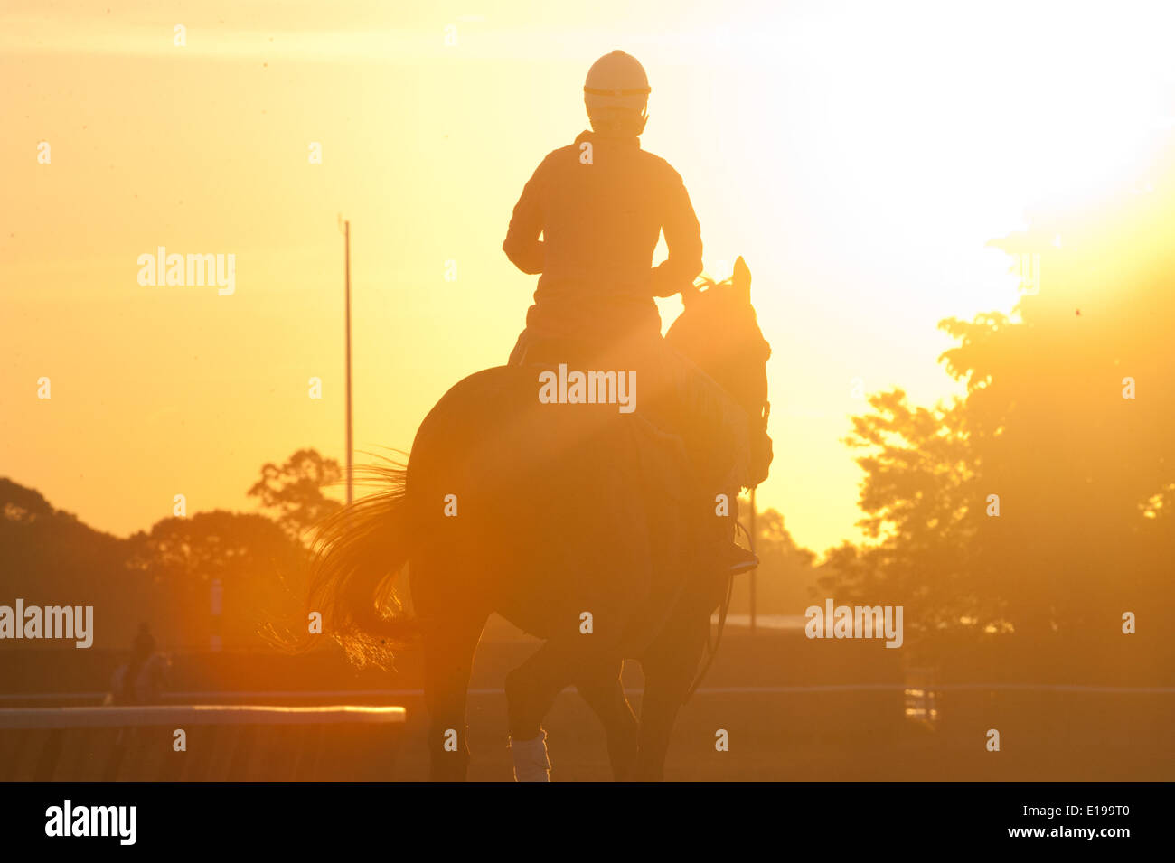 Elmont, New York, USA. 27th May, 2014. Sunrise with horses on the the main track at Belmont Park, Tuesday, May 27, 2014. Credit:  Bryan Smith/ZUMAPRESS.com/Alamy Live News Stock Photo