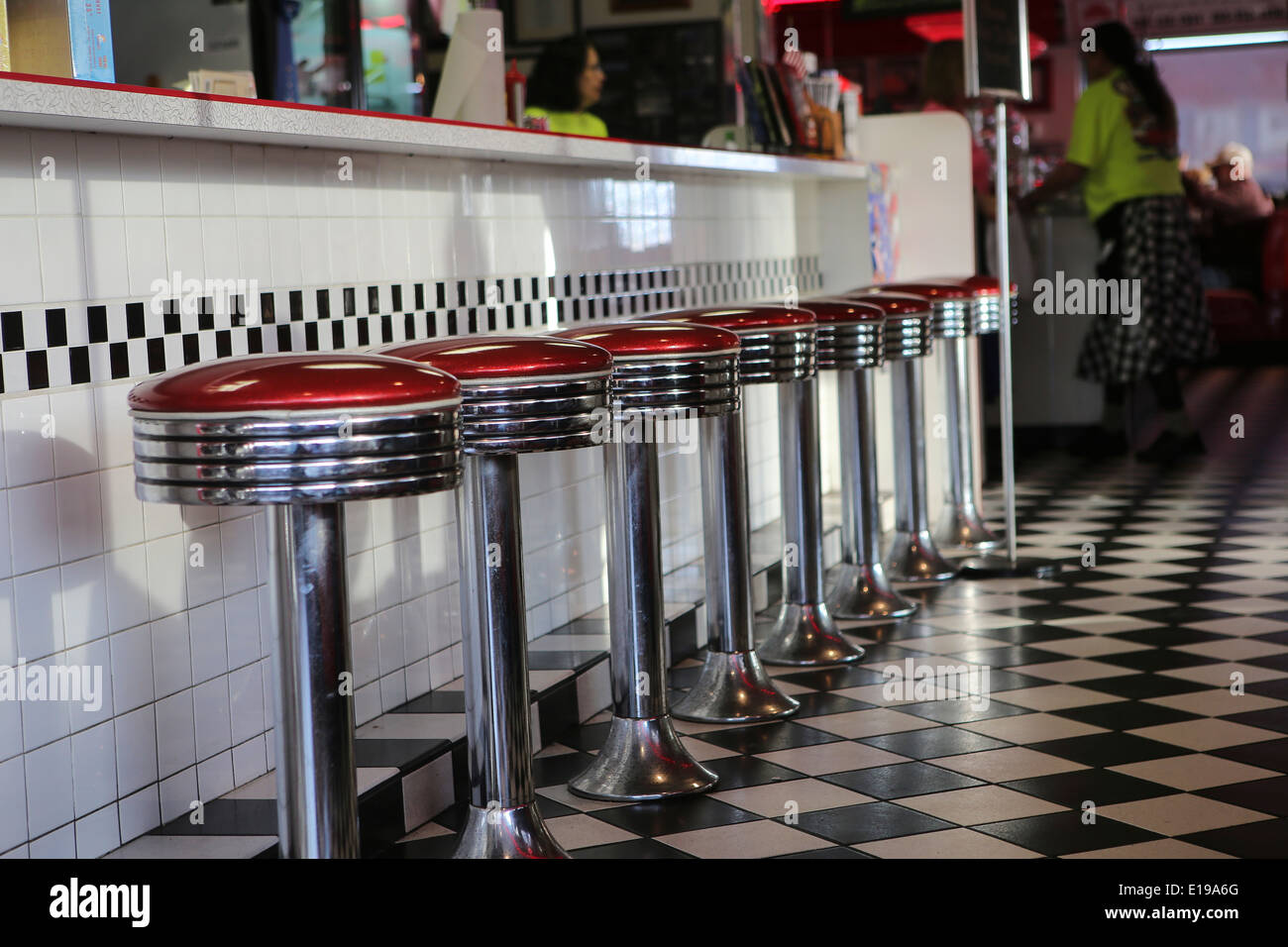 The interior of The Diner, a classic american diner restaurant, is pictured in Sevierville, Tennessee - Stock Image
