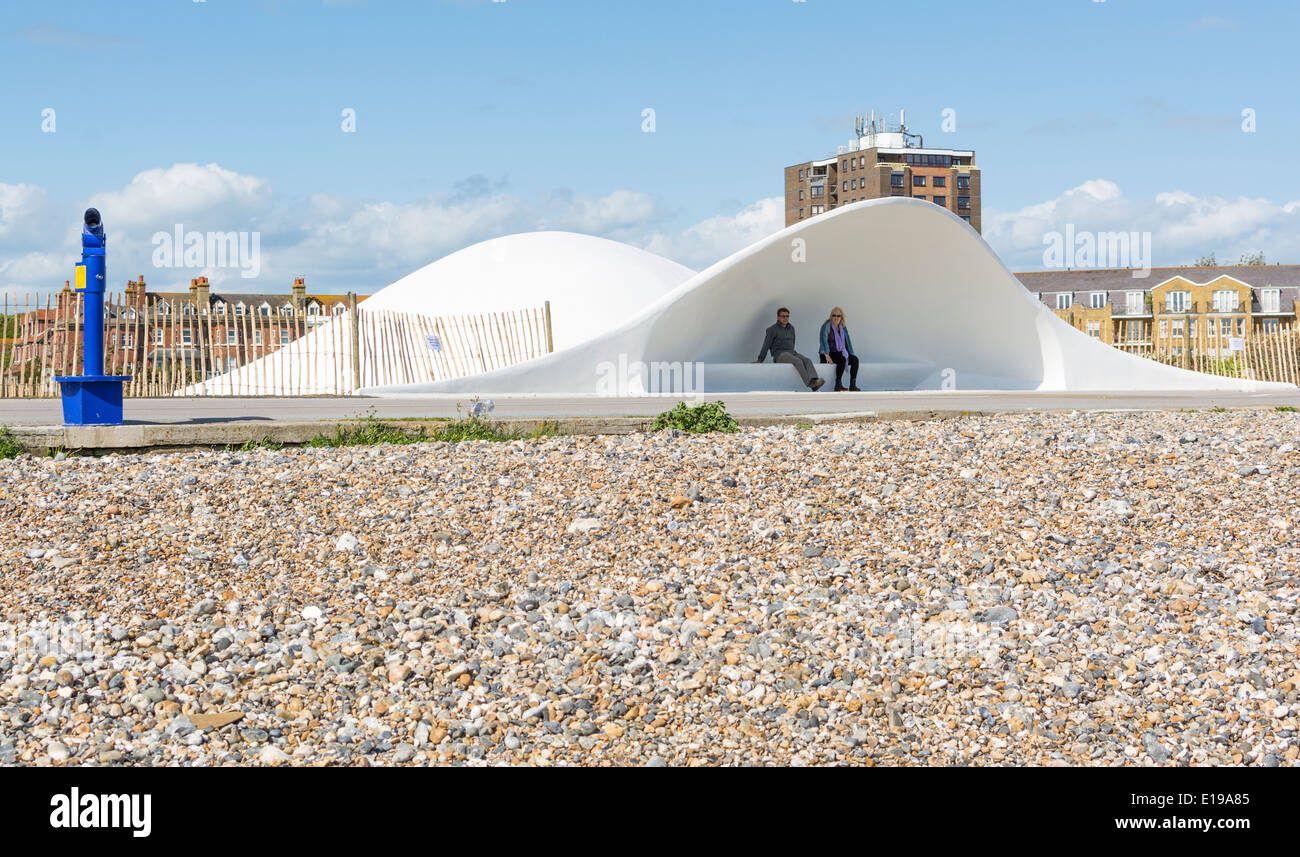 Stage by the sea bandstands along the promenade at Littlehampton, West Sussex, England, UK. - Stock Image