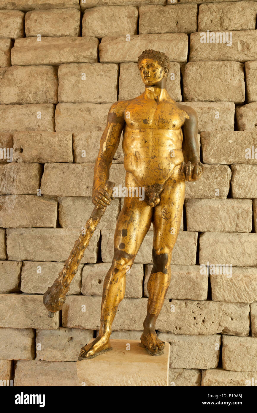 Ancient Roman guilded bronze 2nd century BC,statue of Hercules, Capitoline museum, Rome Italy Europe - Stock Image