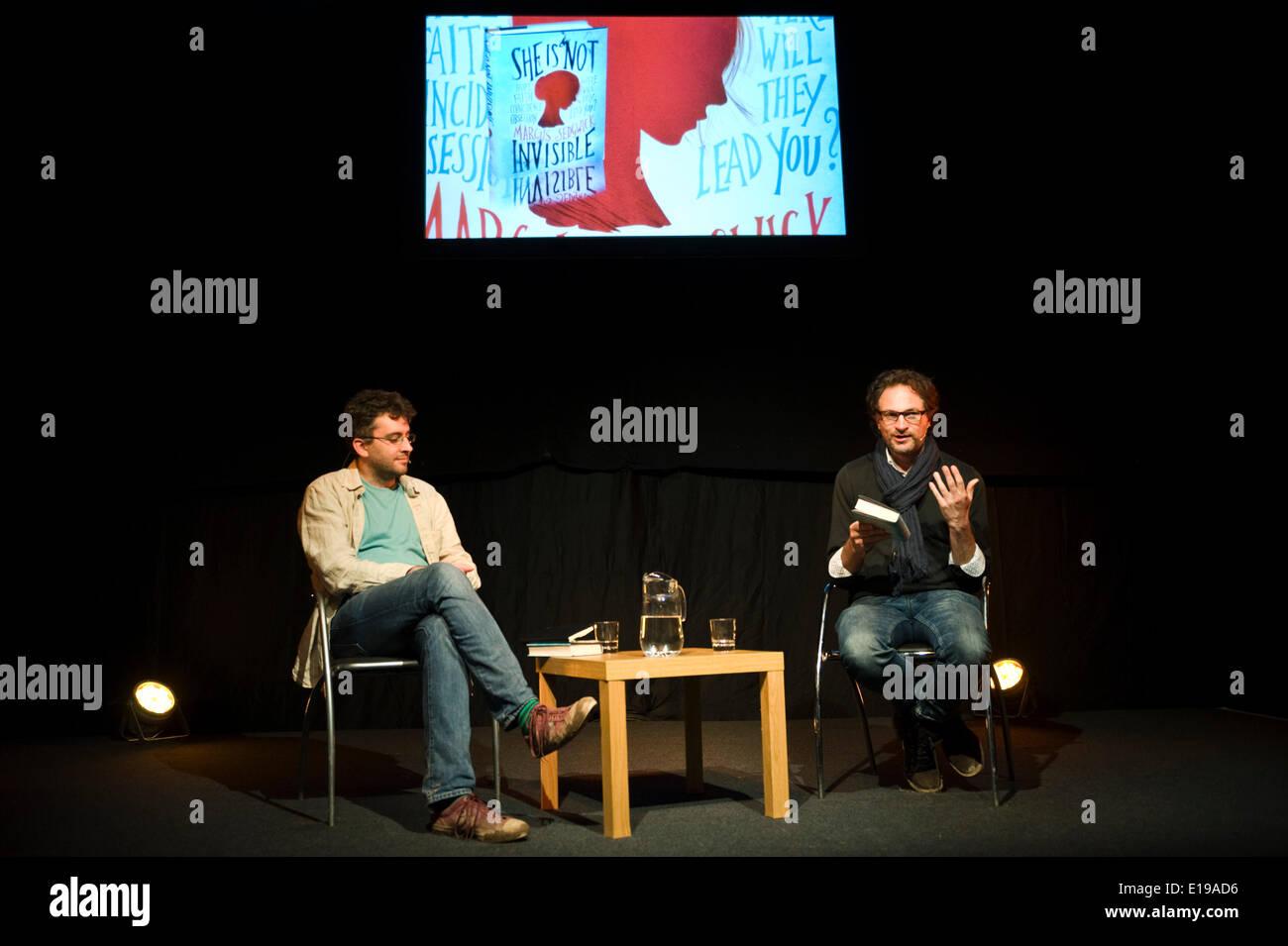 Marcus Sedgwick children's author & illustrator speaking at Hay Festival 2014  ©Jeff Morgan - Stock Image