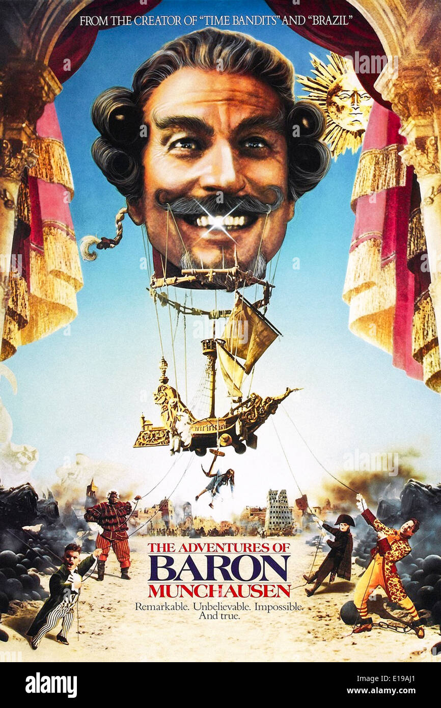 The Adventures of Baron Munchausen (1988) directed by Terry Gilliam and starring John Neville, Eric Idle and Sarah Polley. - Stock Image