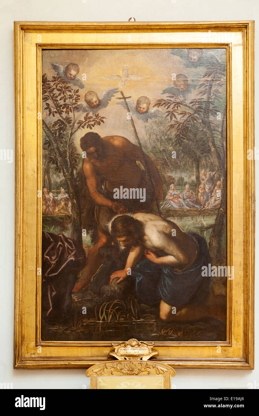 'The Baptism of Christ' painting, painted by Domenico Tintoretto, in the Musei Capitolini, Rome Italy - Stock Image