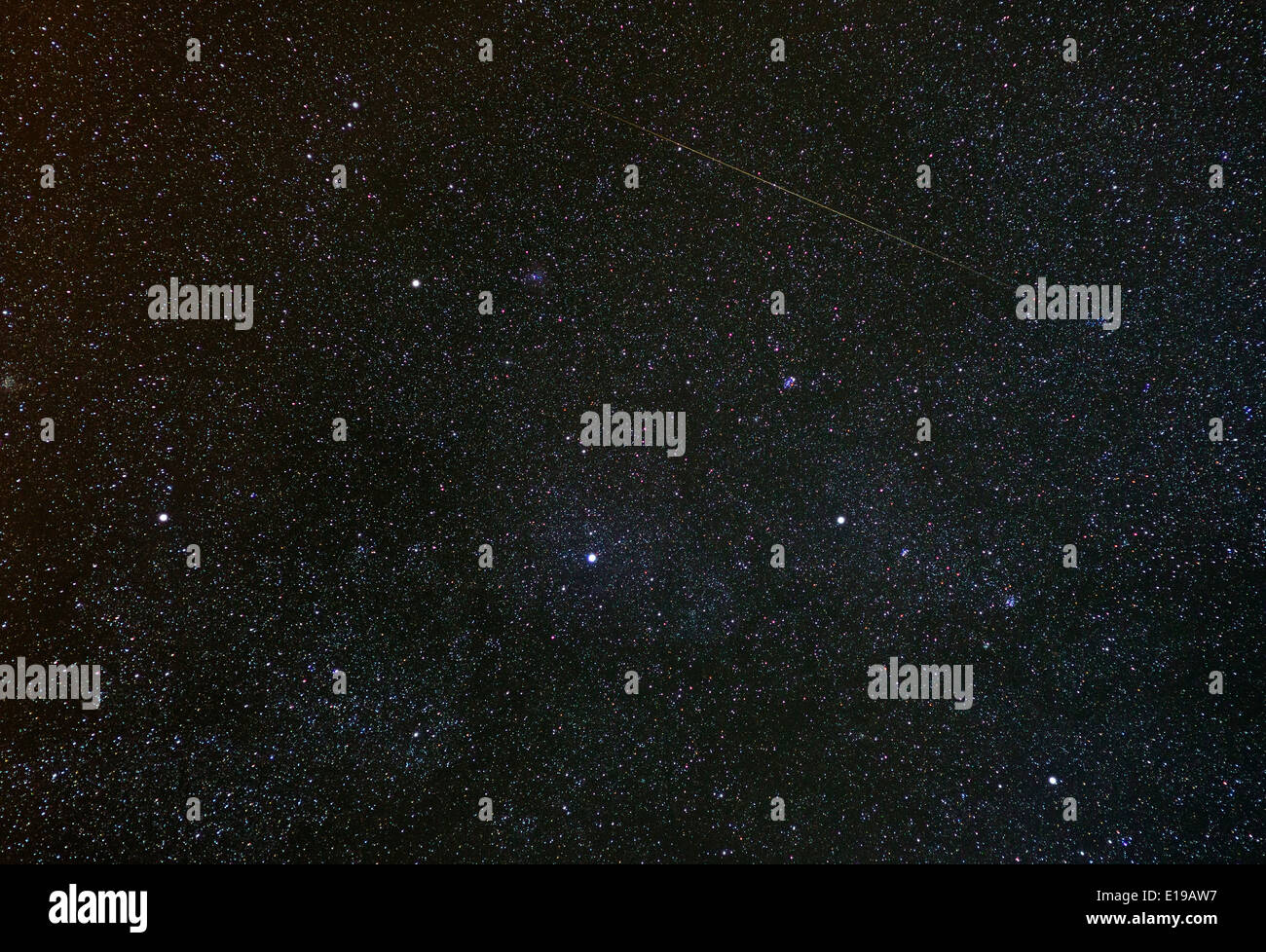 Cassiopeia constellation with shooting star - Stock Image