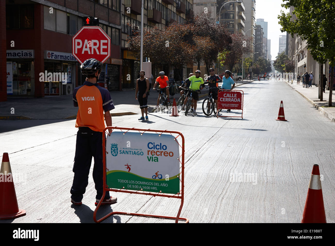sunday morning roads closed for cyclists and walkers Santiago Chile - Stock Image